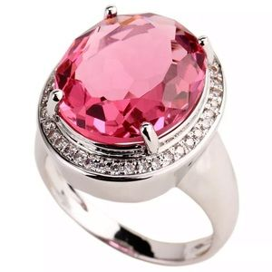 Ring pink cubic zirconia size 10